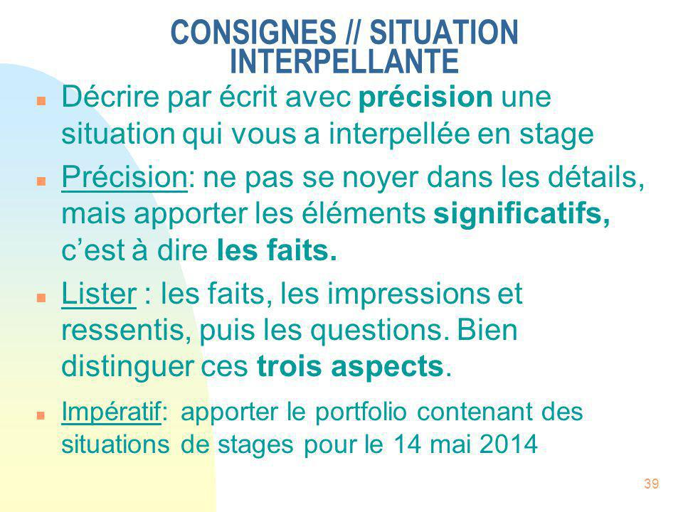 CONSIGNES // SITUATION INTERPELLANTE