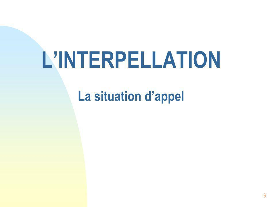 L'INTERPELLATION La situation d'appel