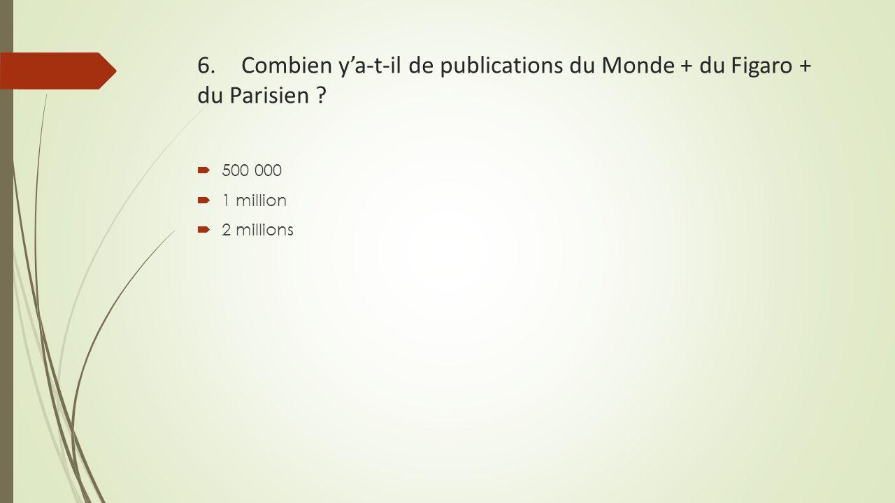 6. Combien y'a-t-il de publications du Monde + du Figaro + du Parisien