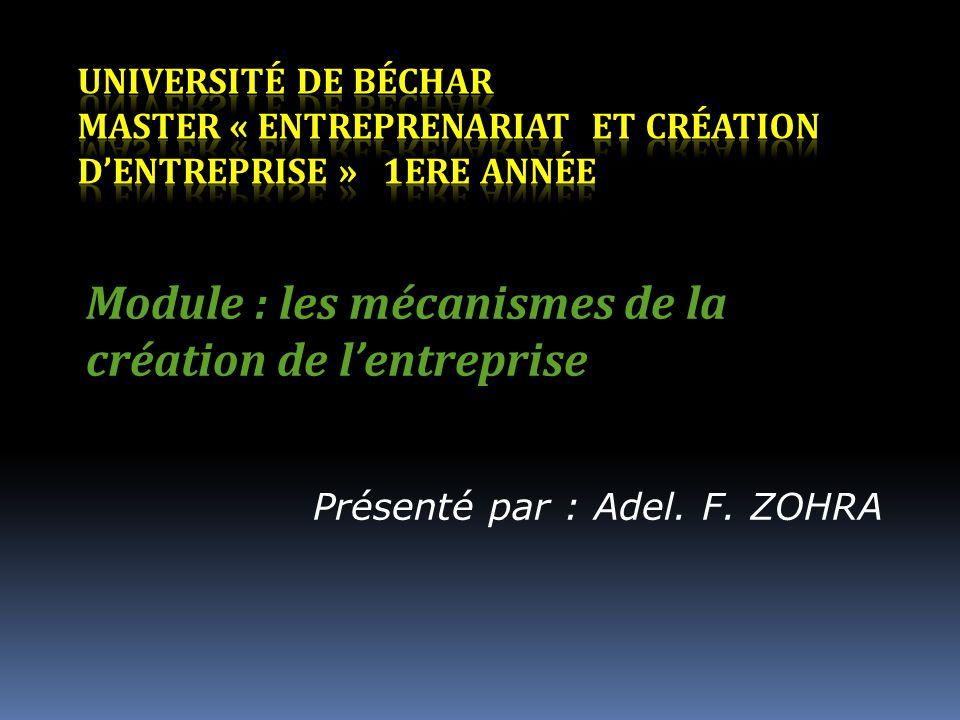 Module : les mécanismes de la création de l'entreprise
