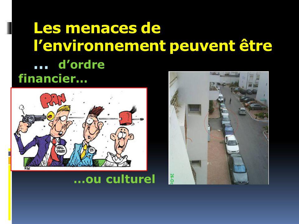 Les menaces de l'environnement peuvent être …