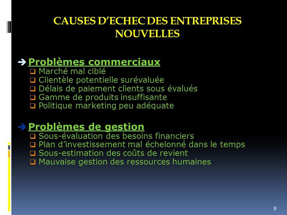 CAUSES D'ECHEC DES ENTREPRISES NOUVELLES