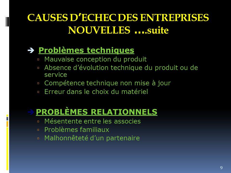CAUSES D'ECHEC DES ENTREPRISES NOUVELLES ….suite