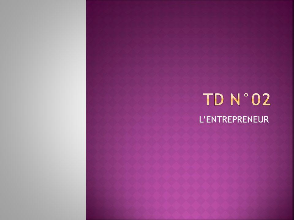 TD N°02 L'ENTREPRENEUR