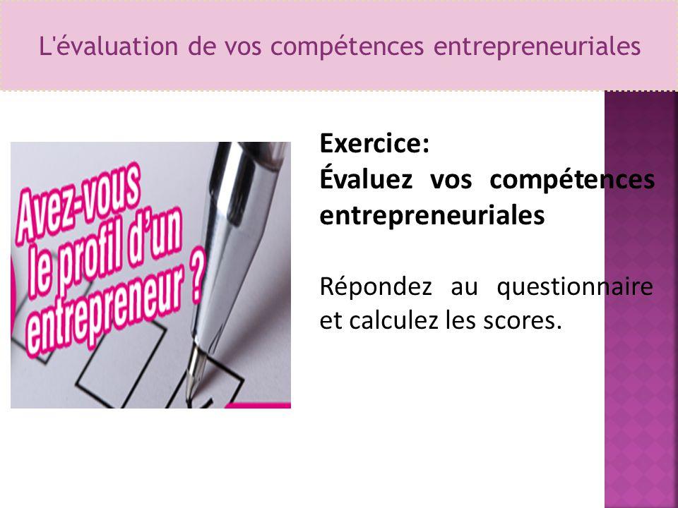 L évaluation de vos compétences entrepreneuriales