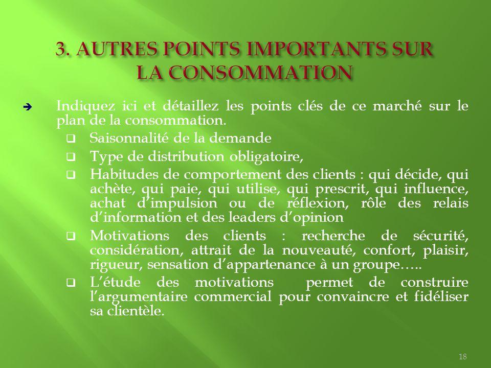 3. AUTRES POINTS IMPORTANTS SUR LA CONSOMMATION