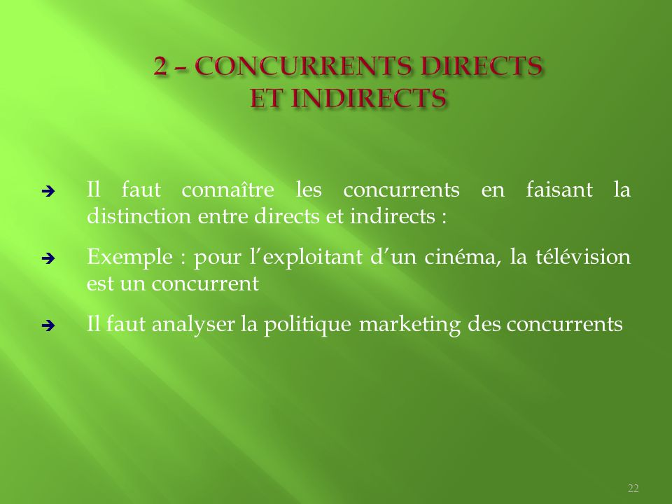 2 – CONCURRENTS DIRECTS ET INDIRECTS