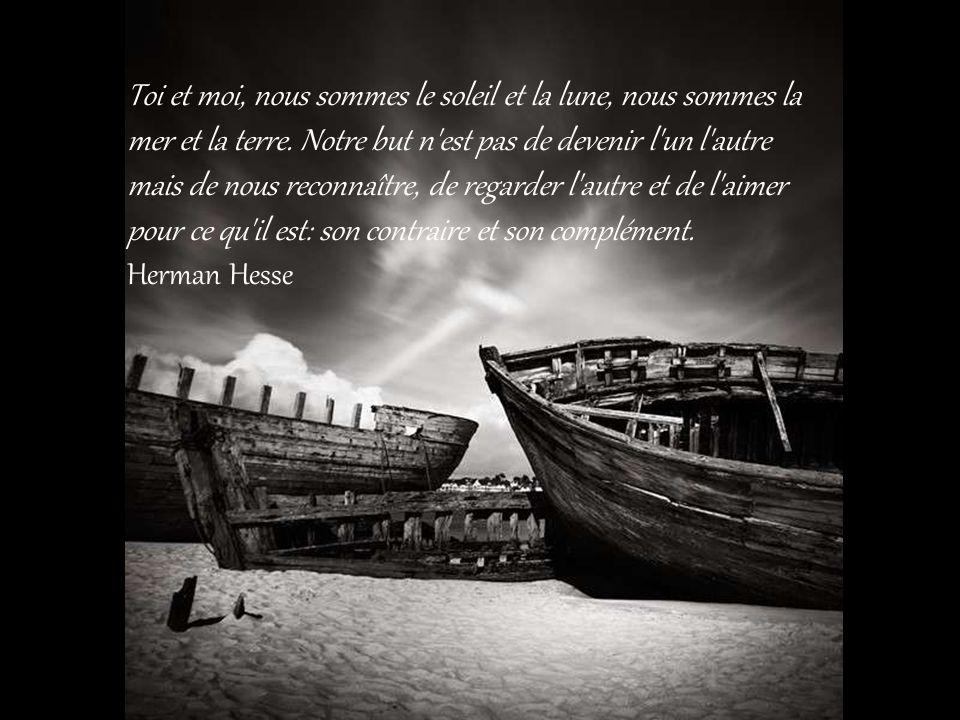 Toi et moi, nous sommes le soleil et la lune, nous sommes la mer et la terre.