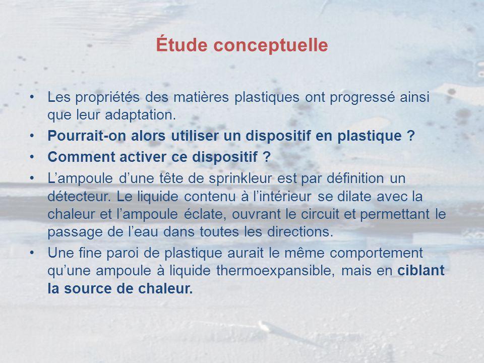 Étude conceptuelle Les propriétés des matières plastiques ont progressé ainsi que leur adaptation.