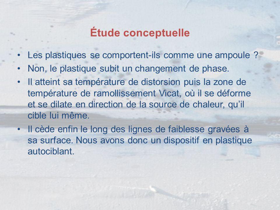 Étude conceptuelle Les plastiques se comportent-ils comme une ampoule Non, le plastique subit un changement de phase.