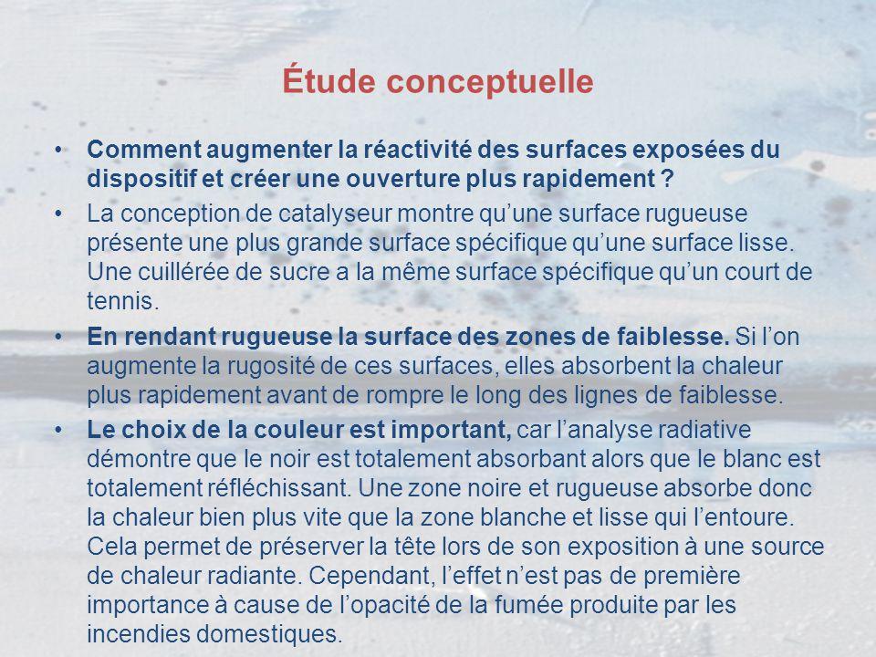 Étude conceptuelle Comment augmenter la réactivité des surfaces exposées du dispositif et créer une ouverture plus rapidement