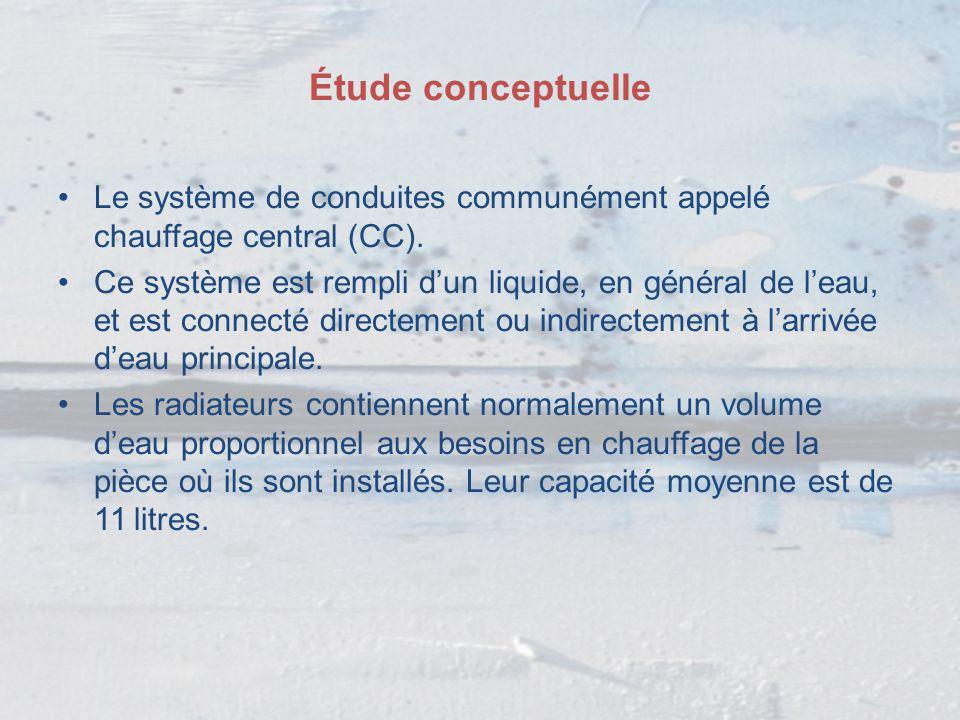 Étude conceptuelle Le système de conduites communément appelé chauffage central (CC).