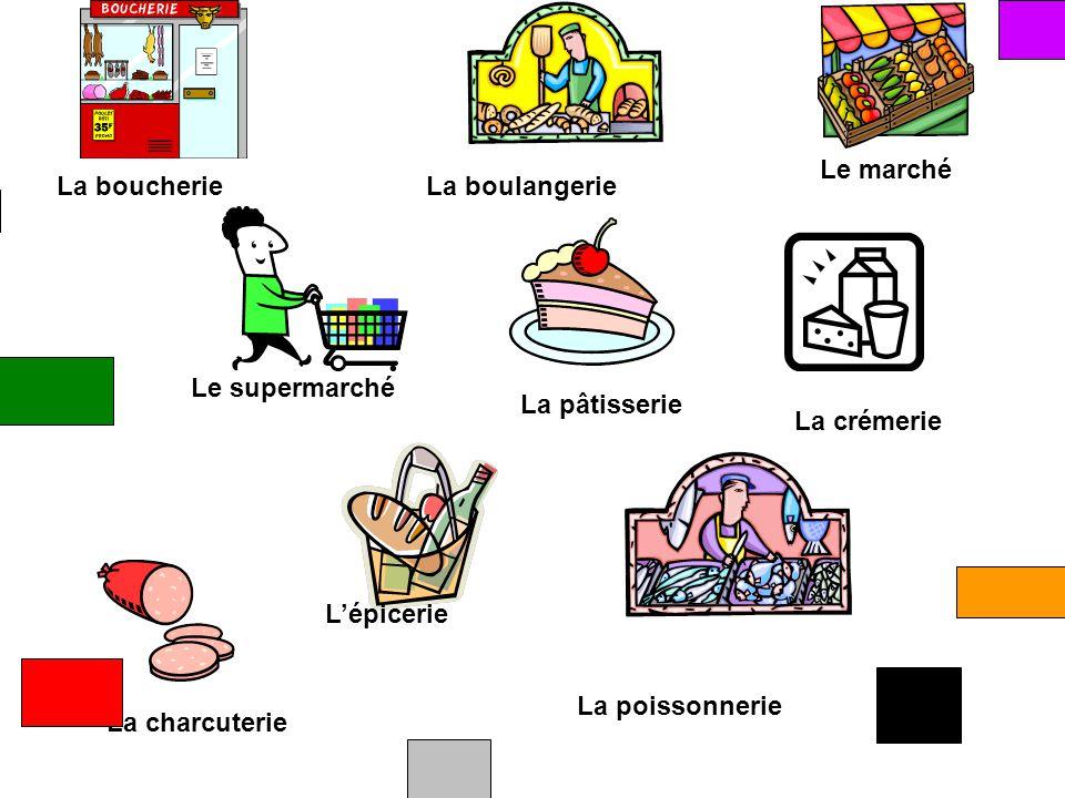 Le marché La boucherie. La boulangerie. Le supermarché. La pâtisserie. La crémerie. L'épicerie.