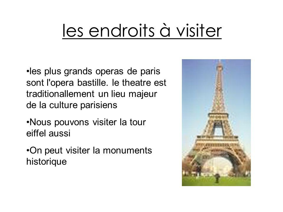 les endroits à visiter les plus grands operas de paris sont l opera bastille. le theatre est traditionallement un lieu majeur de la culture parisiens.