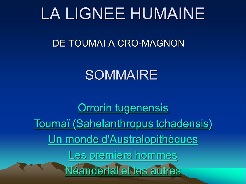 LA LIGNEE HUMAINE SOMMAIRE Orrorin tugenensis