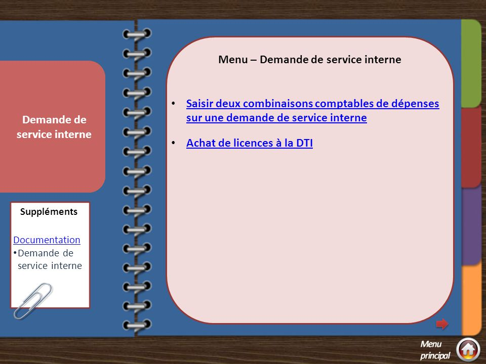 Menu – Demande de service interne