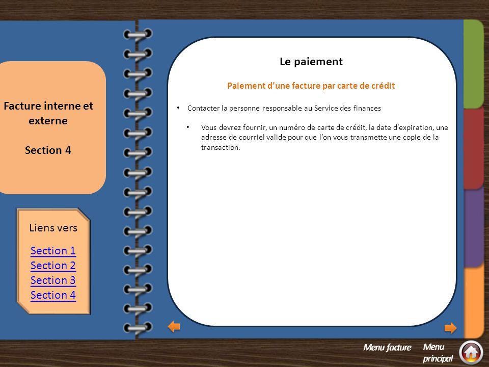 Paiement d'une facture par carte de crédit Facture interne et externe