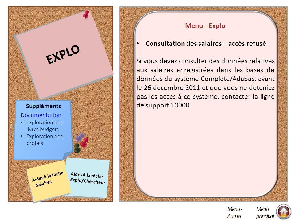 EXPLO Menu - Explo Consultation des salaires – accès refusé