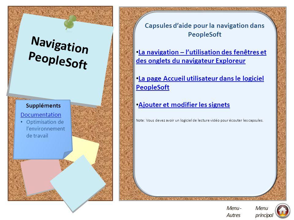 Capsules d'aide pour la navigation dans PeopleSoft