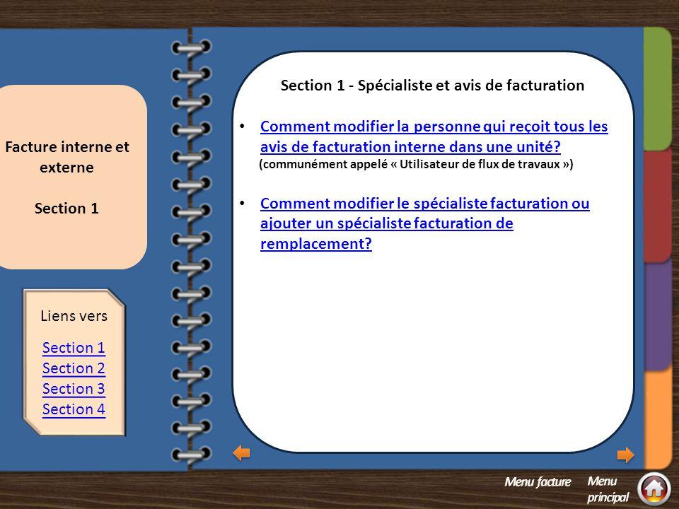 Section 1 - Spécialiste et avis de facturation
