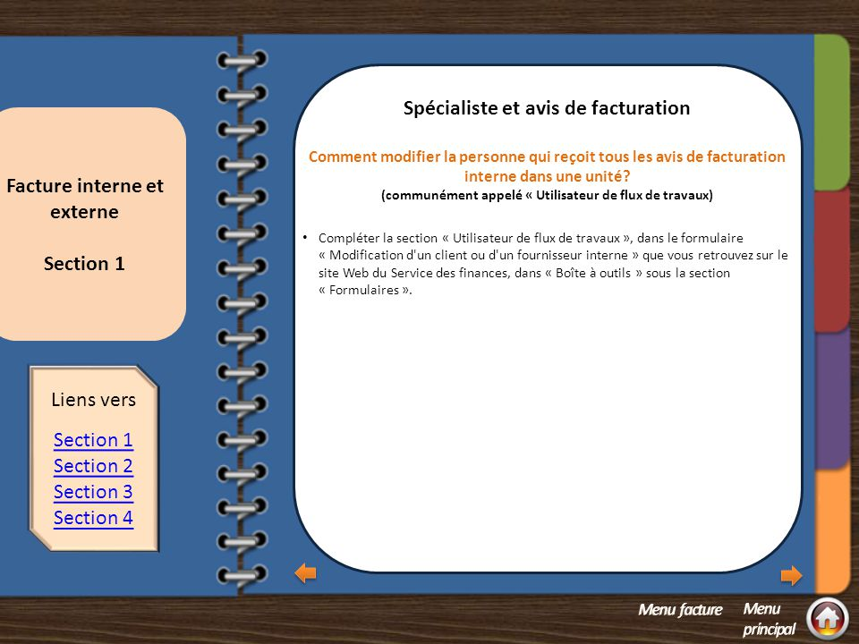Section 1 question 1 Spécialiste et avis de facturation
