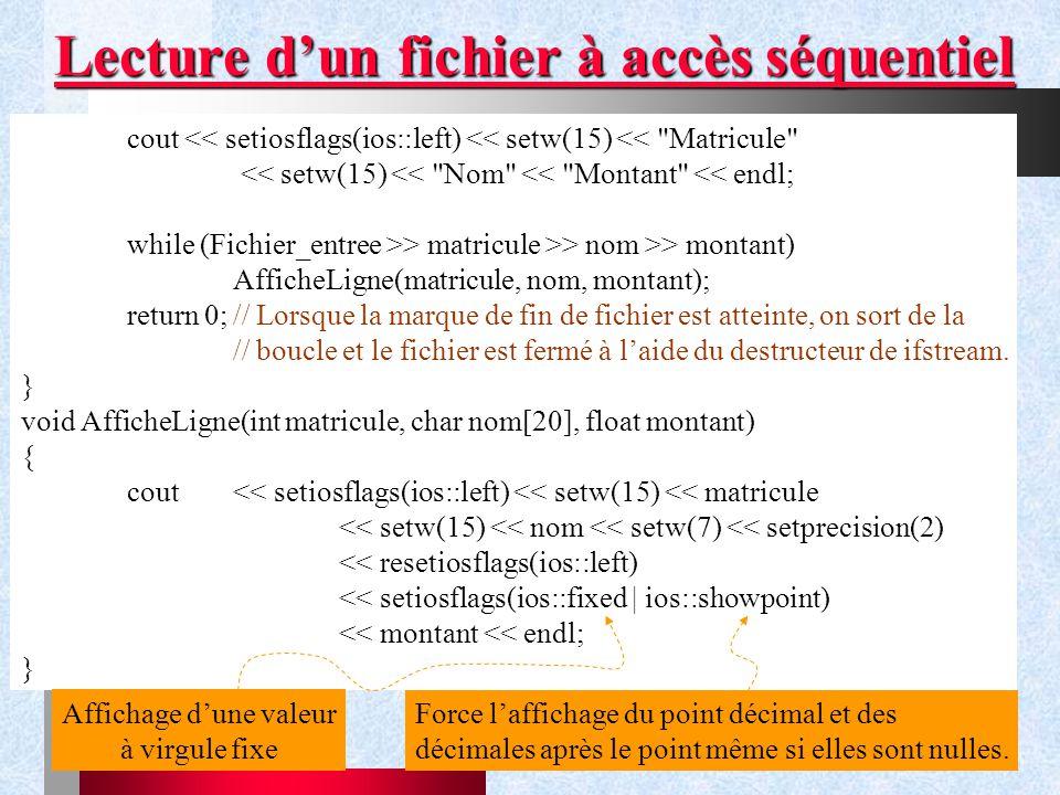 Lecture d'un fichier à accès séquentiel