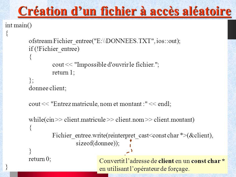 Création d'un fichier à accès aléatoire