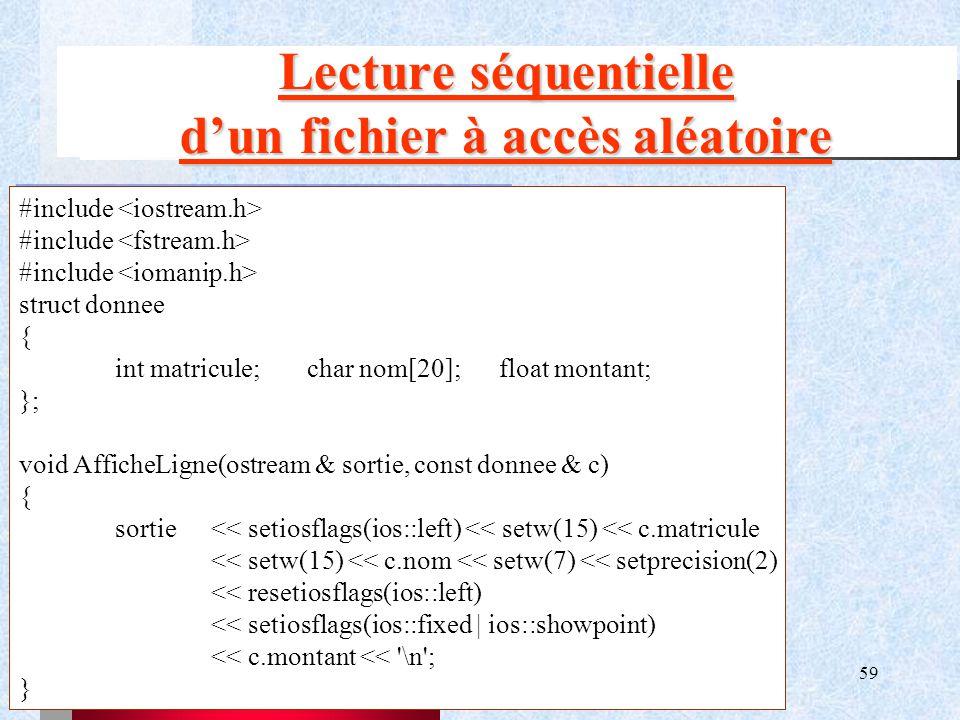 Lecture séquentielle d'un fichier à accès aléatoire