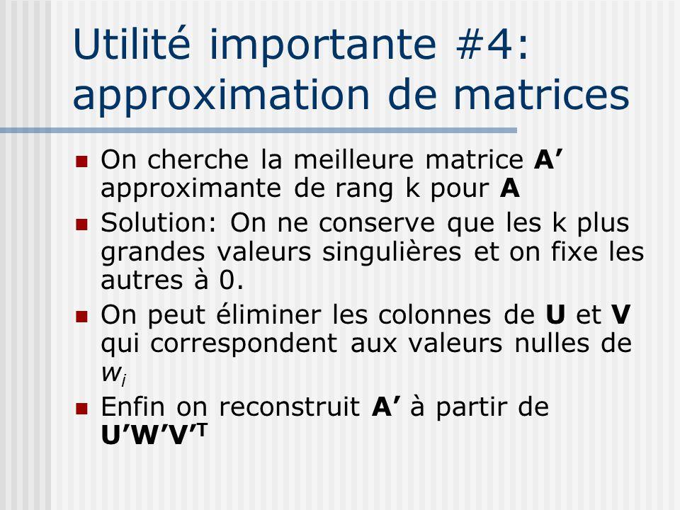 Utilité importante #4: approximation de matrices