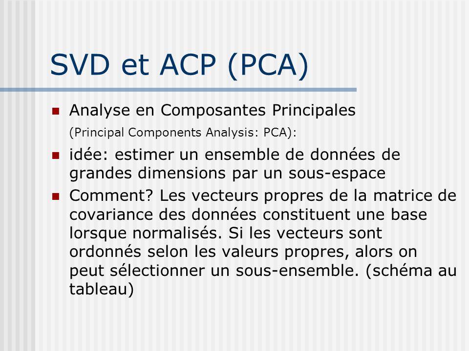 SVD et ACP (PCA) Analyse en Composantes Principales (Principal Components Analysis: PCA):