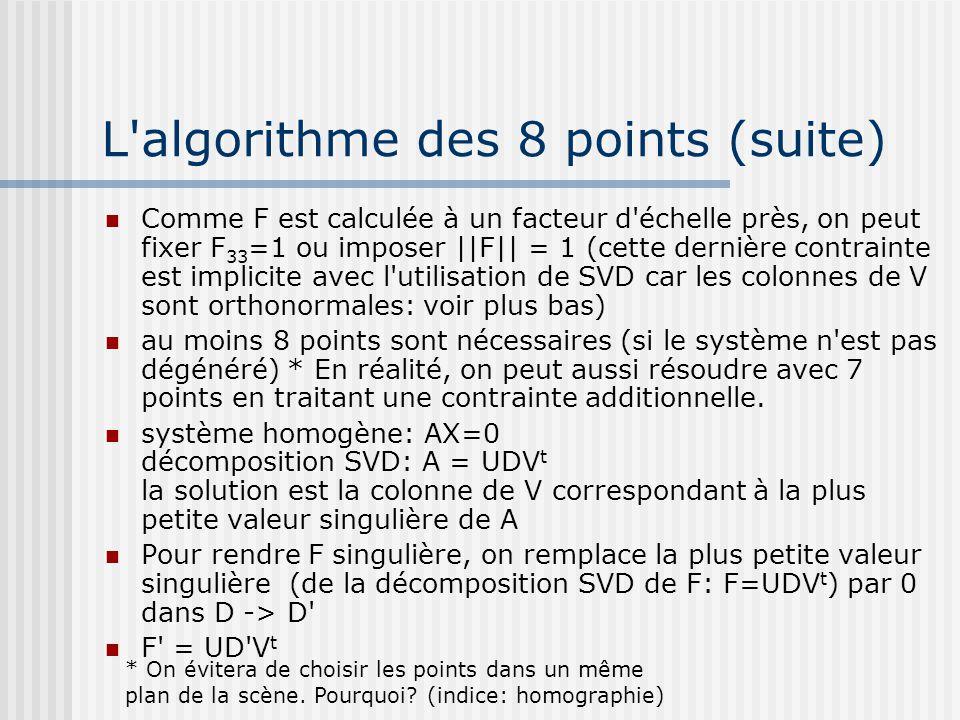 L algorithme des 8 points (suite)