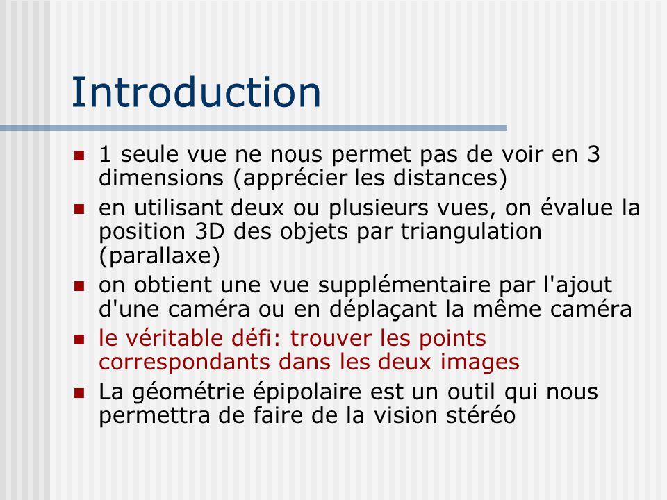 Introduction 1 seule vue ne nous permet pas de voir en 3 dimensions (apprécier les distances)