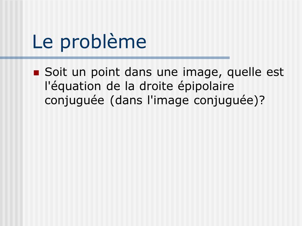 Le problème Soit un point dans une image, quelle est l équation de la droite épipolaire conjuguée (dans l image conjuguée)