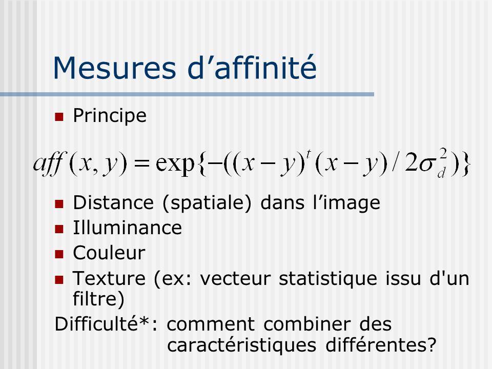 Mesures d'affinité Principe Distance (spatiale) dans l'image