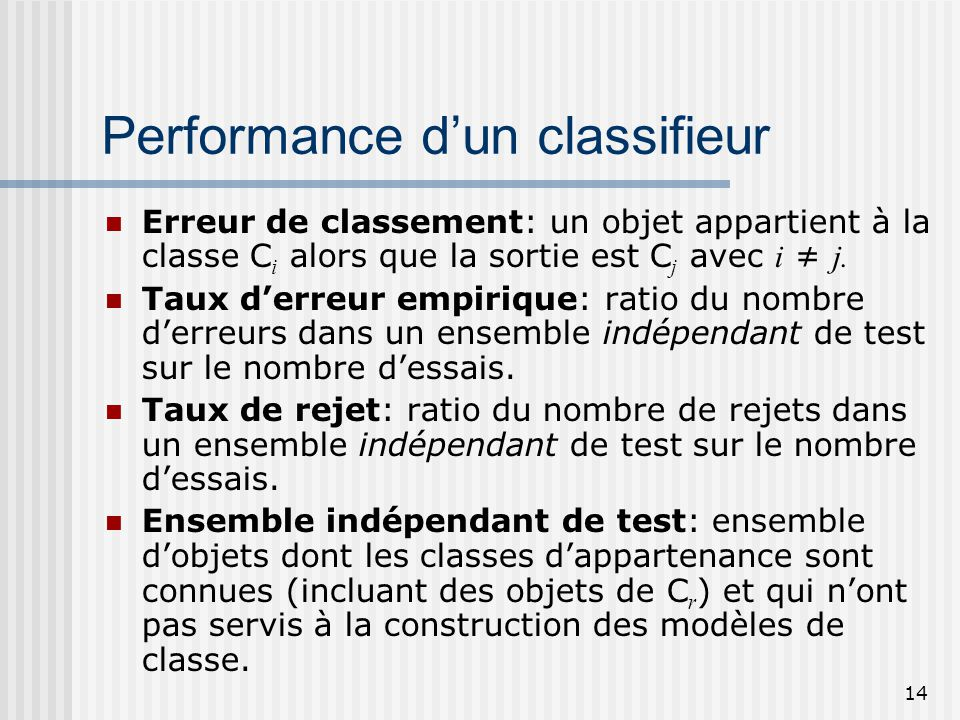 Performance d'un classifieur