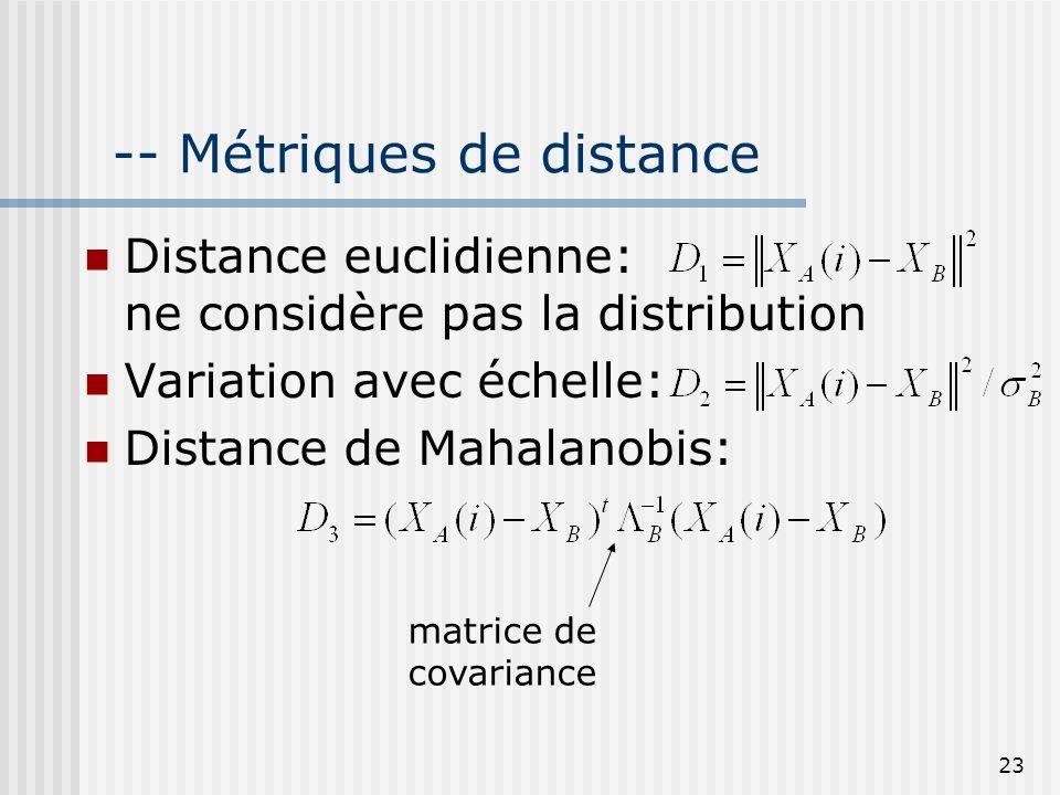 -- Métriques de distance