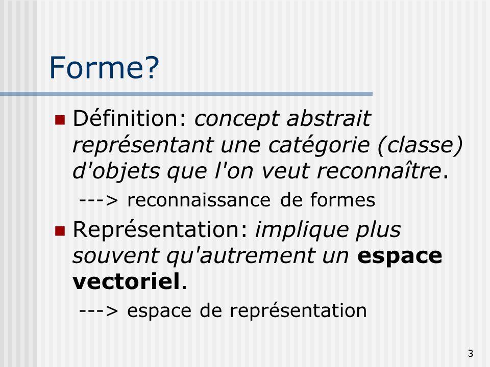 Forme Définition: concept abstrait représentant une catégorie (classe) d objets que l on veut reconnaître.