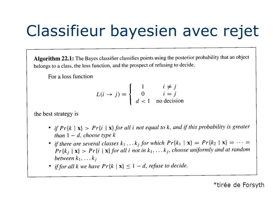 Classifieur bayesien avec rejet
