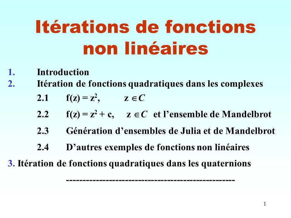 Itérations de fonctions non linéaires
