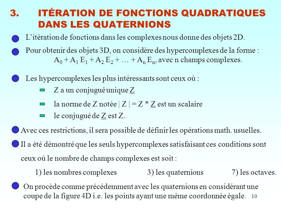 3. ITÉRATION DE FONCTIONS QUADRATIQUES DANS LES QUATERNIONS