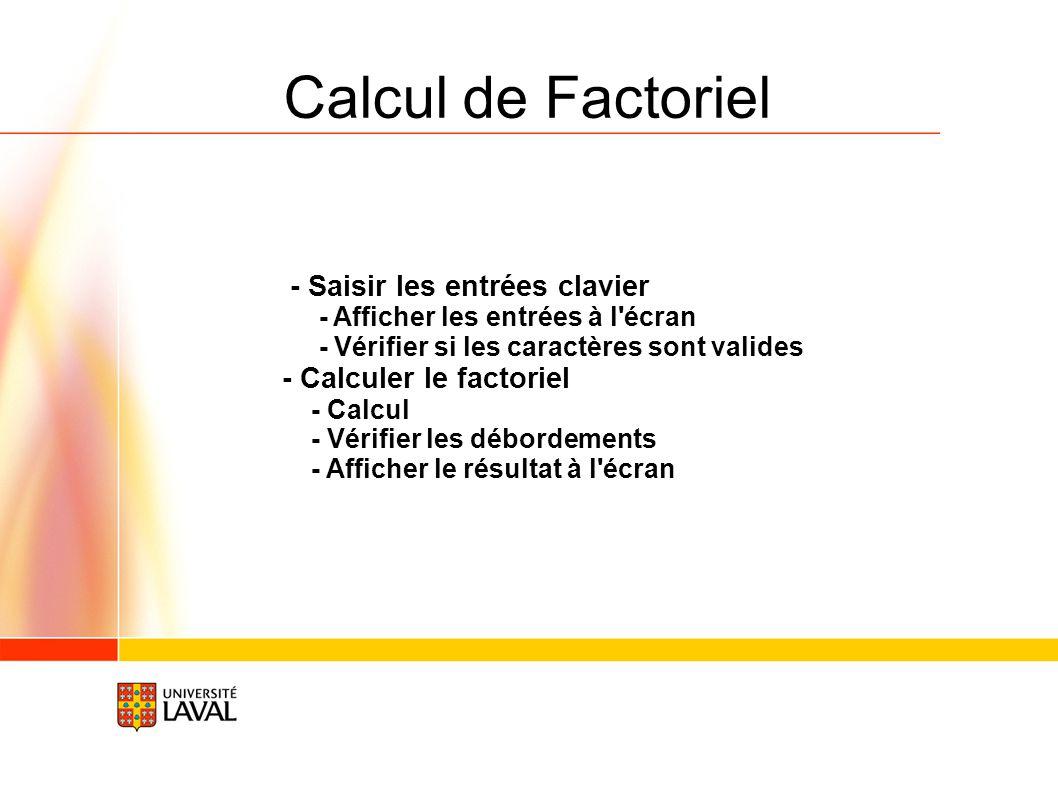 Calcul de Factoriel - Saisir les entrées clavier