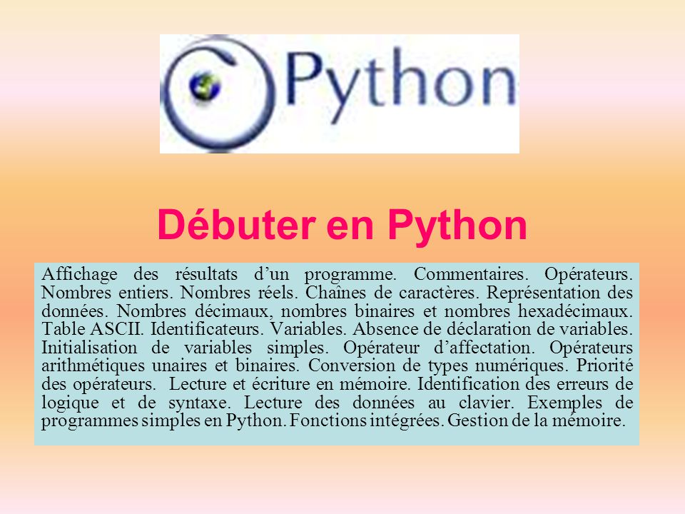 Débuter en Python