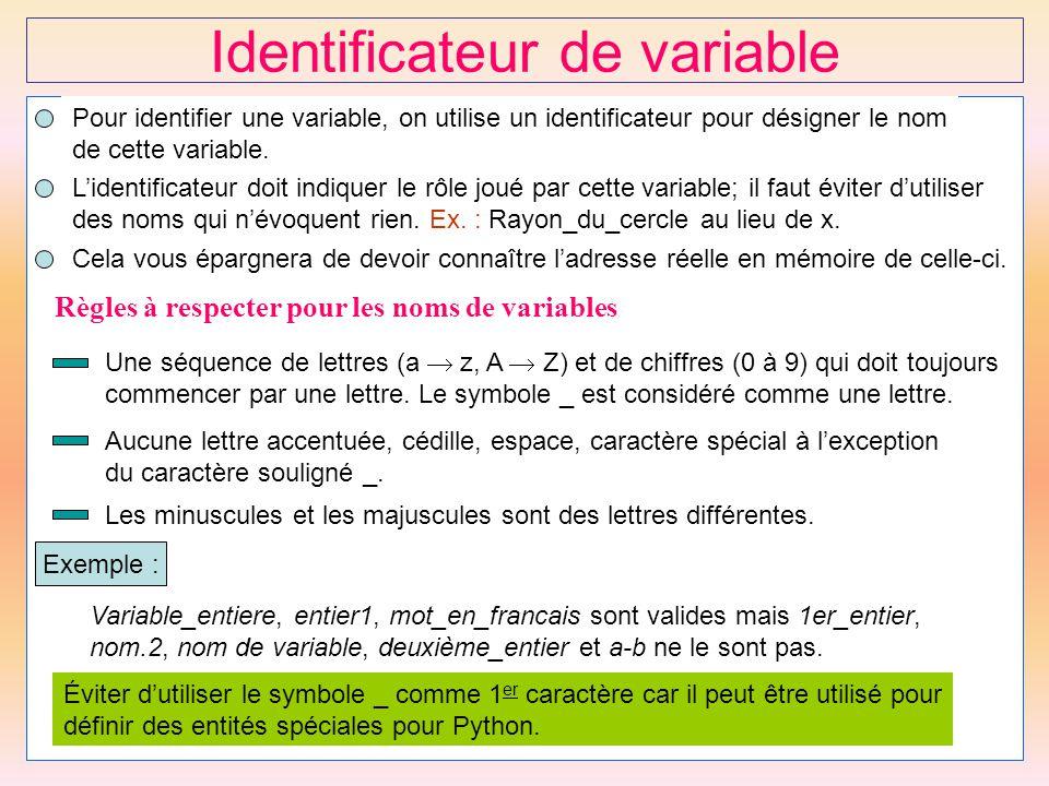 Identificateur de variable