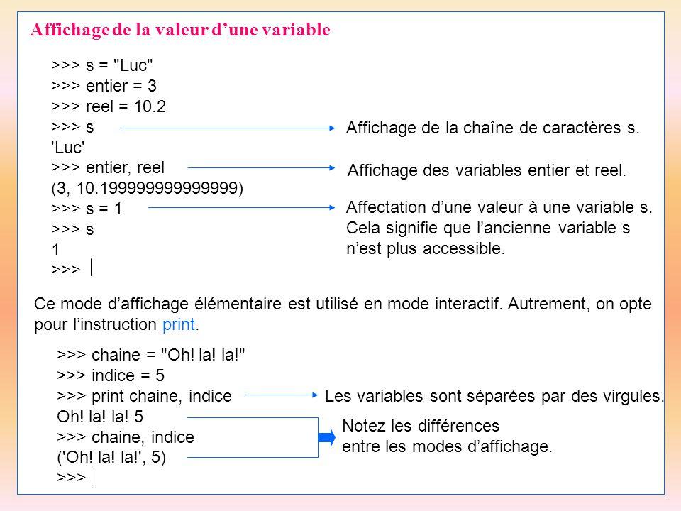 Affichage de la valeur d'une variable