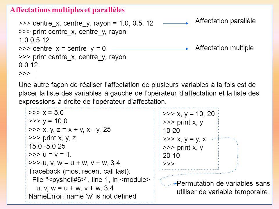 Affectations multiples et parallèles