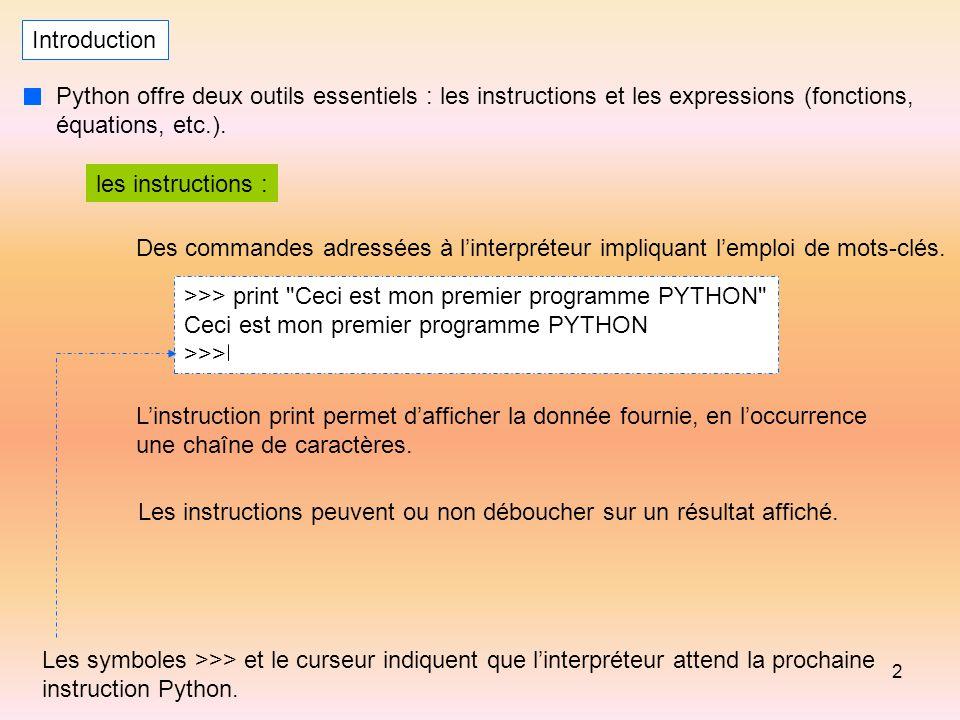 Introduction Python offre deux outils essentiels : les instructions et les expressions (fonctions, équations, etc.).