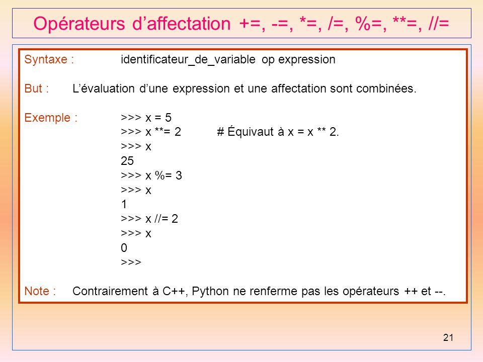 Opérateurs d'affectation +=, -=, *=, /=, %=, **=, //=