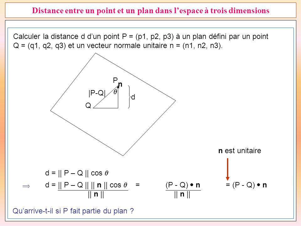 Distance entre un point et un plan dans l'espace à trois dimensions