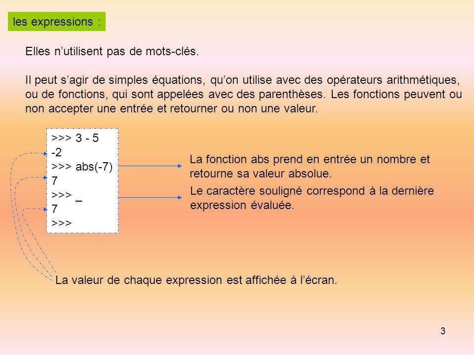 les expressions : Elles n'utilisent pas de mots-clés. Il peut s'agir de simples équations, qu'on utilise avec des opérateurs arithmétiques,