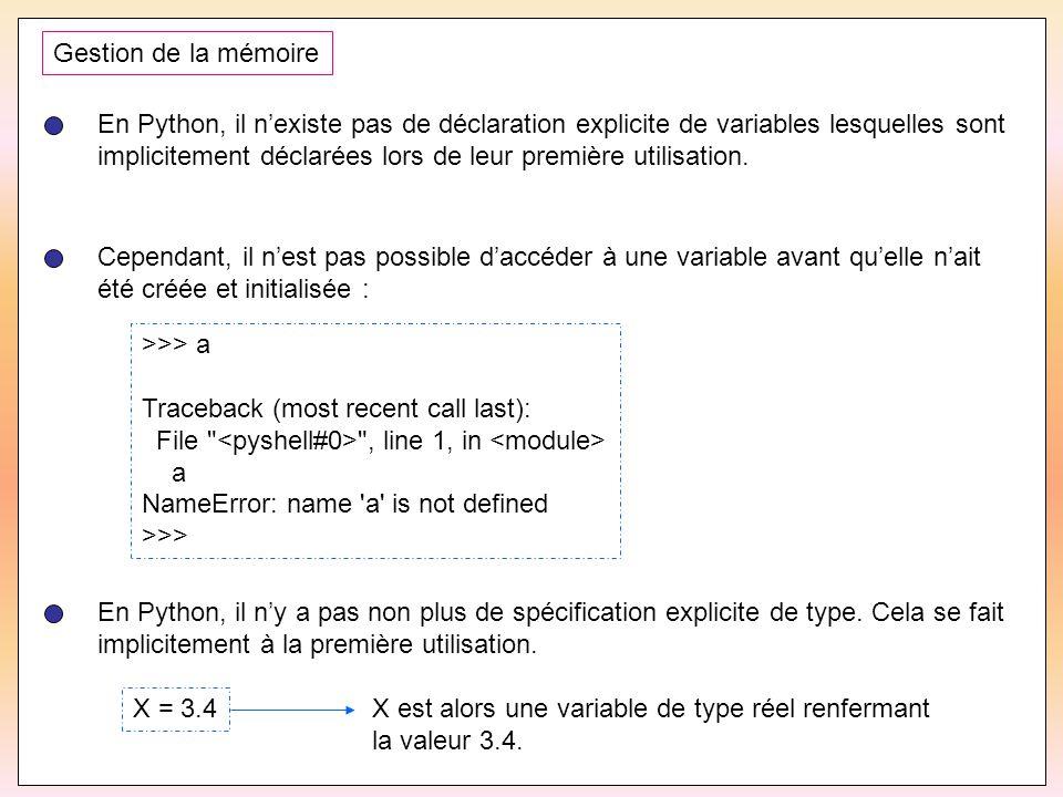 Gestion de la mémoire En Python, il n'existe pas de déclaration explicite de variables lesquelles sont.